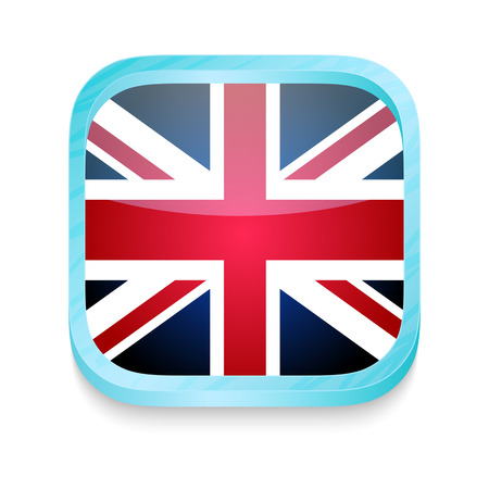 Smart phone button with United Kingdom flag Vector