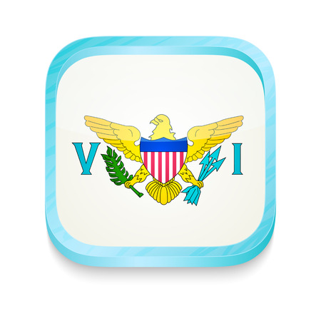 Smart phone button with United States Virgin Islands flag Vector