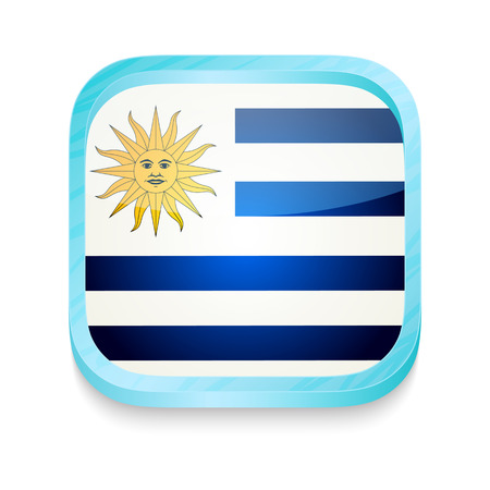 Smart phone button with Uruguay flag Vector