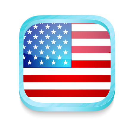 Smart phone button with USA flag Vector