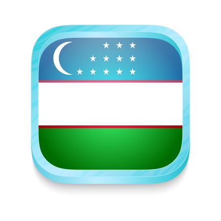 Smart phone button with Uzbekistan flag Vector