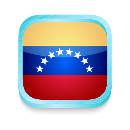 Smart phone button with Venezuela flag Vector