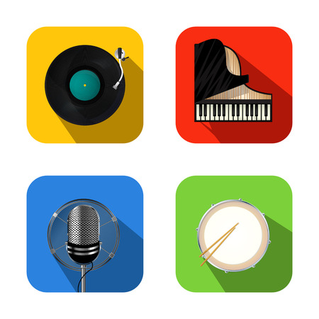 drum set: Music and party icon set  Illustration