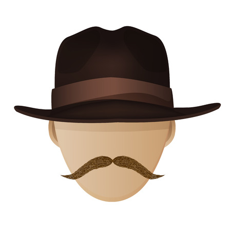 Hipster hat and moustache  Vector