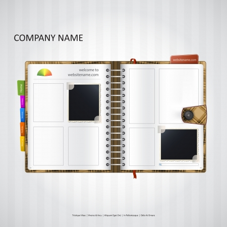browse: Website design template with notebook, organizer