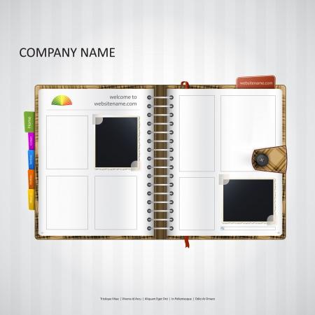 agenda browse: Website design template with notebook, organizer