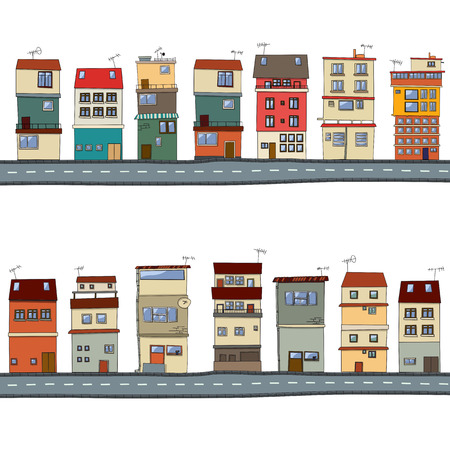 cartoon house: Cartoon houses illustration set  Illustration