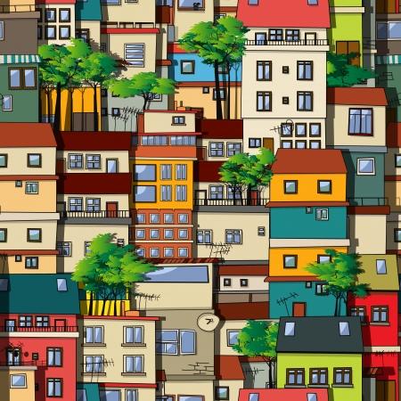 front porch: Brazilian favela, seamless pattern design Illustration