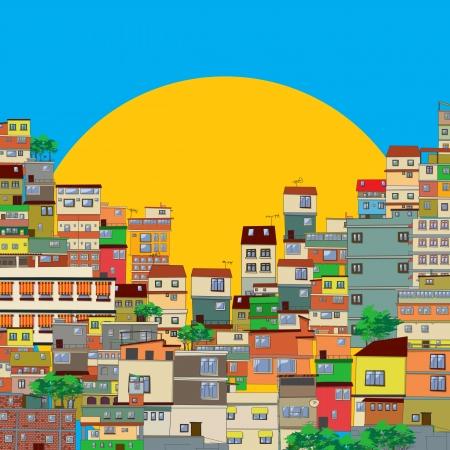 krottenwijk: Braziliaanse favela illustratie
