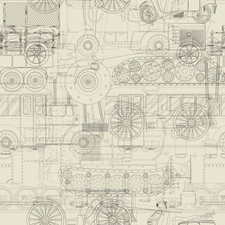 Cars, trains and construction vehicle drawing, seamless pattern background