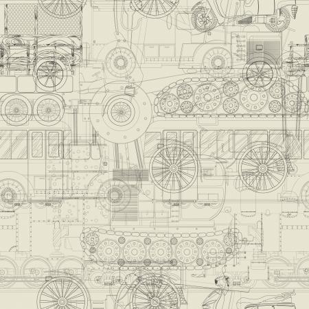 dibujo tecnico: Coches, trenes y dibujo vehículo de la construcción, de fondo transparente Vectores