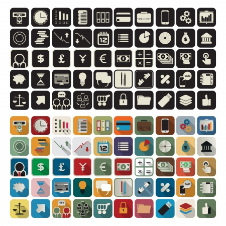 stack of files: Business or finance flat application icon set over white background