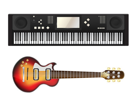 pianist: Electric guitar and synthesizer over white background Illustration