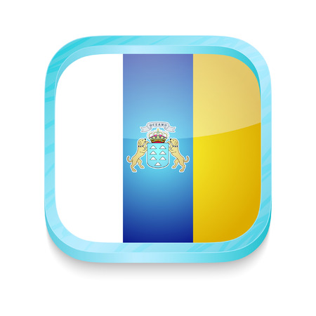 canary islands: Smart phone button with Canary Islands flag