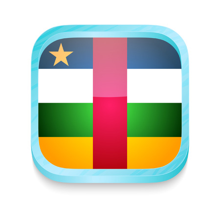 Smart phone button with Central Africa flag Vector