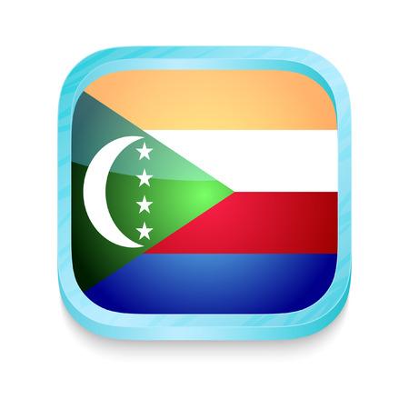 comoros: Smart phone button with Comoros flag