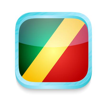 congo: Smart phone button with Congo flag
