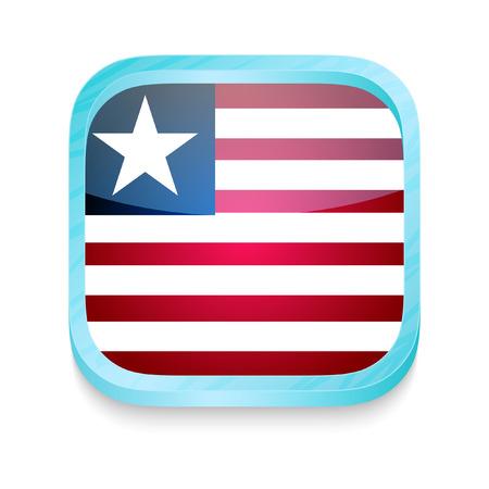 liberia: Smart phone button with Liberia flag