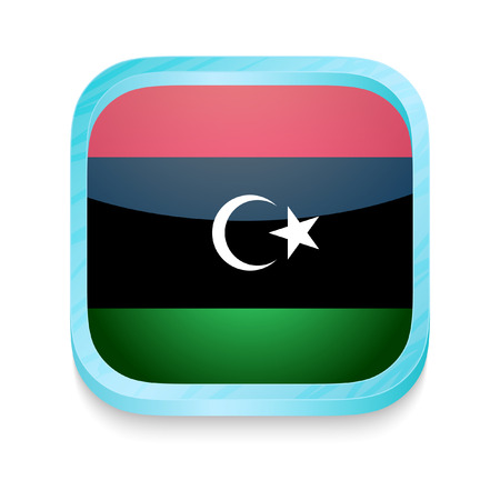 Smart phone button with Libya flag Vector