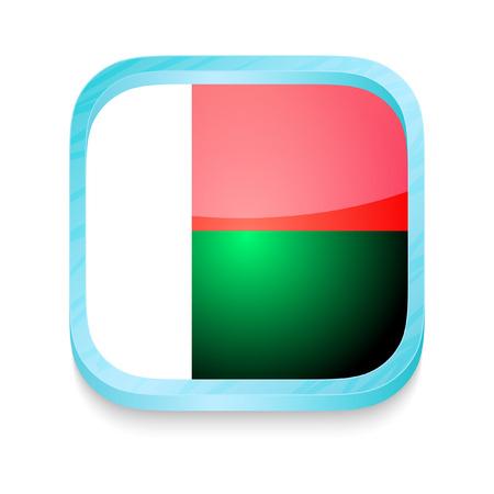 Smart phone button with Madagascar flag Vector