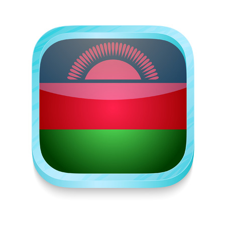 Smart phone button with Malawi flag Vector