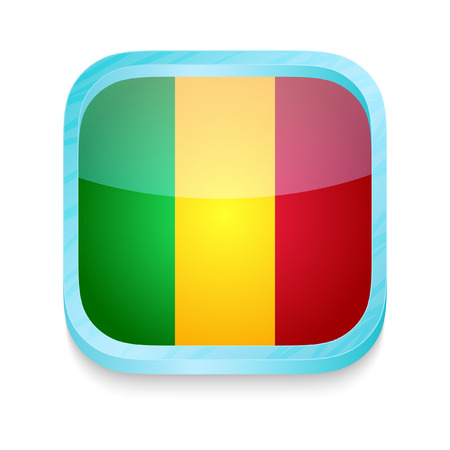 Smart phone button with Mali flag Vector