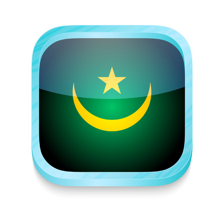 Smart phone button with Mauritania flag Vector