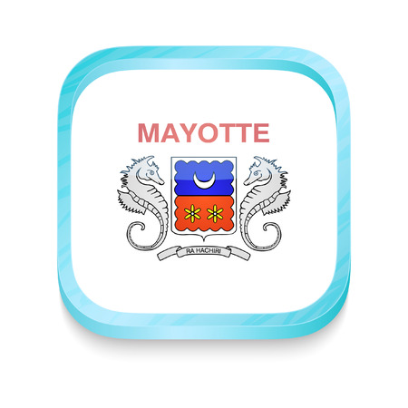 mayotte: Smart phone button with Mayotte flag