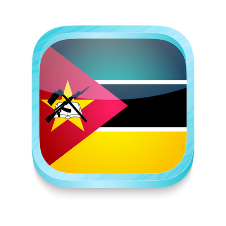 Smart phone button with Mozambique flag Vector