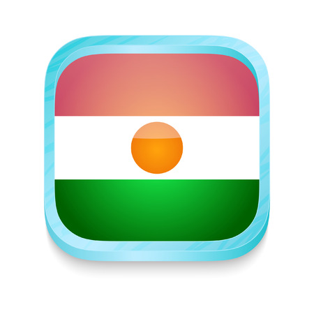 niger: Smart phone button with Niger flag