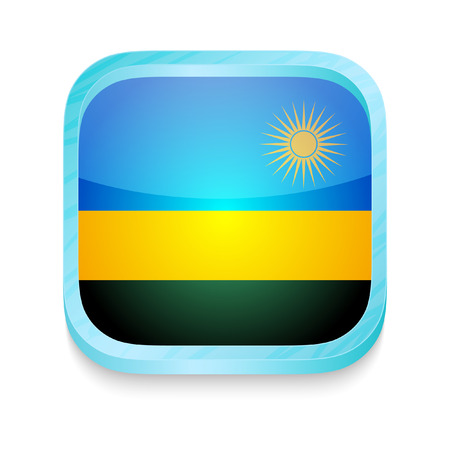 rwanda: Smart phone button with Rwanda flag