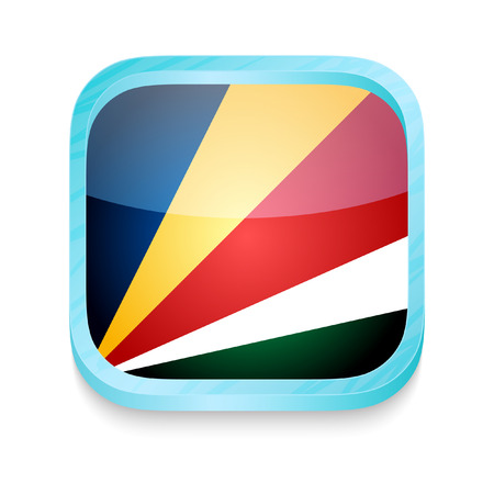 Smart phone button with Seychelles flag Vector