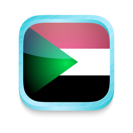 Smart phone button with Sudan flag Vector