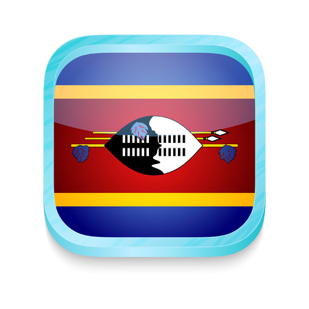 Smart phone button with Swaziland flag Vector