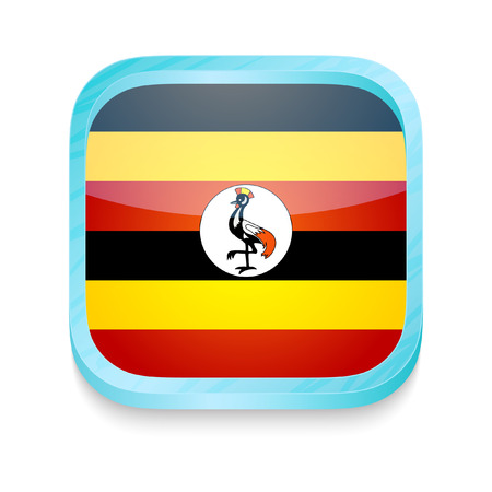Smart phone button with Uganda flag Stock Vector - 23356689