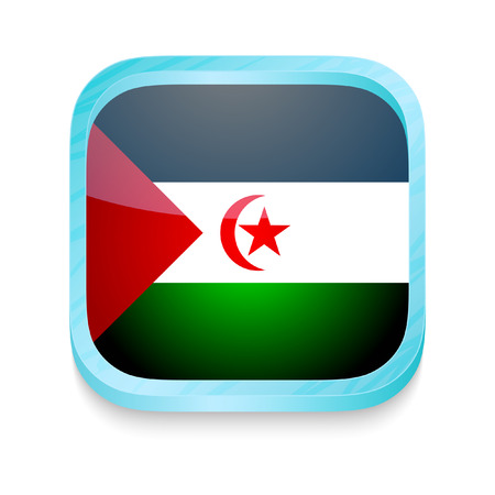 Smart phone button with Western Sahara flag Vector