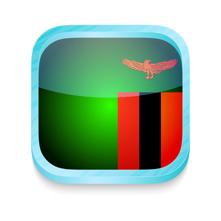 Smart phone button with Zambia flag Vector