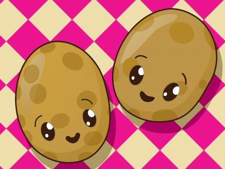 potato plant: Kawaii style drawing potato icons