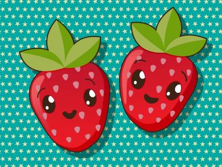 Kawaii style drawing strawberry icons Vector