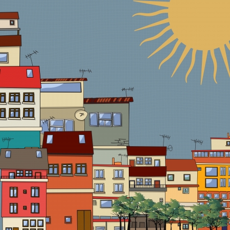 Cartoon style drawing of a city in the sun Stock Vector - 24057206