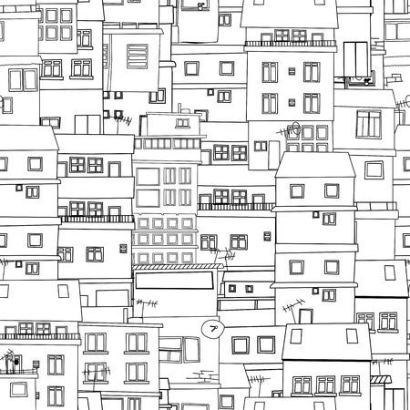 白と黒のシームレスな都市のスケッチ  イラスト・ベクター素材