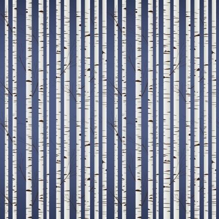 arbre automne: Mod�le en bois de bouleau Illustration
