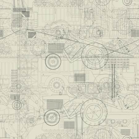 dibujo tecnico: Diseño Patrón sin fisuras con los vehículos industriales Vectores