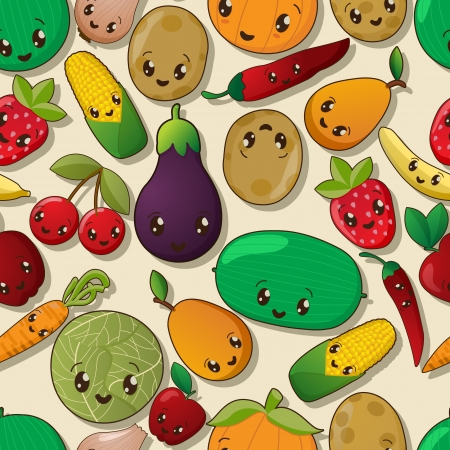 Seamless kawaii pattern with fruits and vegetables Vector