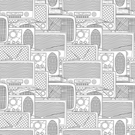 Seamless pattern design with vintage radio in black and white Vector