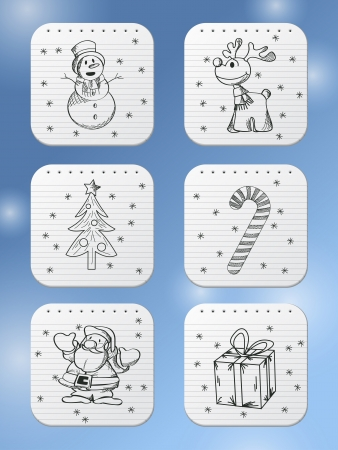 Winter holidays doodle icons for the apps Vector