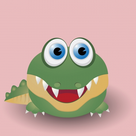 Cute cartoon baby crocodile Vector