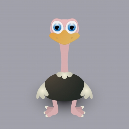 Cute cartoon baby ostrich Vector