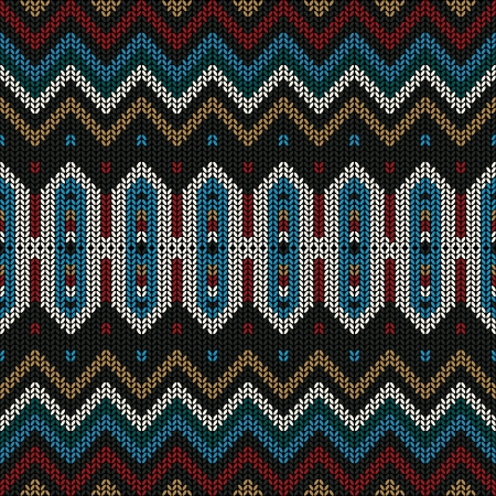 knitted: Ornamental folk knitted textile, seamless pattern. Illustration