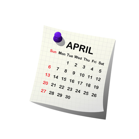 2014 paper calendar for April over white background Vector